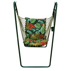 Swing Chair and Stand Combination, Tropique Raven/Lyndhurst Raven Stripe Fabric...