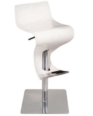 Adjustable Contemporary Wood Curved Bar Stool in White