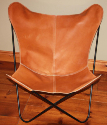 Light Brown Leather Butterfly Chair Cover