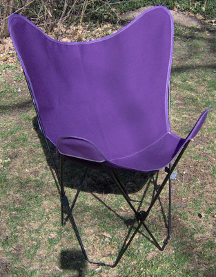 Butterfly Chair with Purple Cotton Duck Cover Black Frame