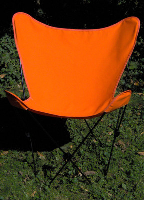 Butterfly Chair with Orange Cotton Duck Cover Black Frame