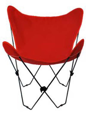 Butterfly Chair with Red Cotton Duck Cover Black Frame