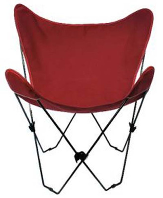 Butterfly Chair with Burgundy Cotton Duck Cover Black Frame