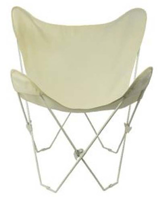 Butterfly Chair with Natural Cotton Duck Cover White Frame