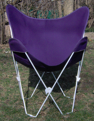 Butterfly Chair with Purple Cotton Duck Cover White Frame