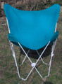 Butterfly Chair with Teal Cotton Duck Cover White Frame