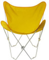 Butterfly Chair with Yellow Cotton Duck Cover White Frame