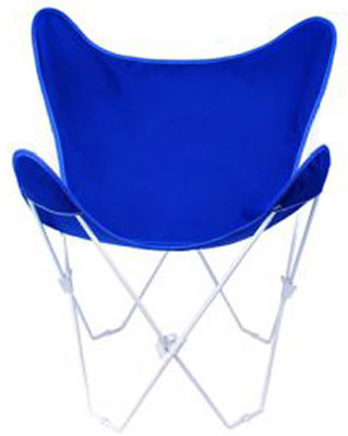 Butterfly Chair with Royal Blue Cotton Duck Cover White Frame
