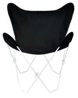 Butterfly Chair with Ebony Black Cotton Duck Cover White Frame