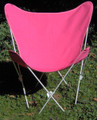 Butterfly Chair with Pink Cotton Duck Cover White Frame
