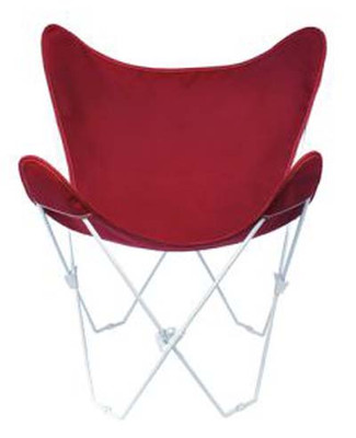Butterfly Chair with Burgundy Cotton Duck Cover White Frame