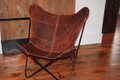 Vintage Brown Leather Butterfly Chair Cover
