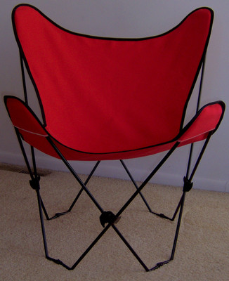 Butterfly Chair with Red Cover and Black Frame
