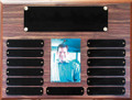 "12"" x 16"" (13 Plate) Walnut Finish Perpetual Plaque with Picture Holder"