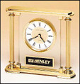 Glass Clock with Gold Metal Columns