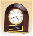Rosewood Piano-Finish Arched Table Clock with Solid Brass Base