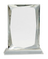 "Crystal Rectangle Mounted on a Crystal Pedestal with Sandblasted Engraving 8"" Tall"
