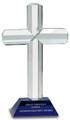 "Crystal Cross with Blue Pedestal Base 9"" Tall"