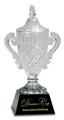 "Clear Crystal Cup on Black Pedestal Base 12.5"" Tall"