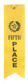 5th Place Yellow Carded Ribbon with String 2 X 8