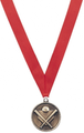 Medal with Red Ribbon with No Engraving