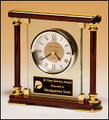 Glass and Rosewood Piano Finish Clock with Gold Metal Accents