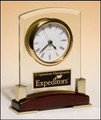 Beveled Glass Desktop Clock with Rosewood Piano-Finish Base