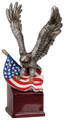 "American Eagle with Flag Hand Painted Resin 10"" Tall"