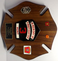 Solid Walnut Maltese Cross Plaque for Fire Department 14&quot; x 14&quot;