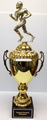 "Fantasy Football: Gold Football Runner on Gold Metal Cup on Black Marble Base 26"" Tall"