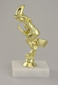 Halloween Witch on Broom Gold Trophy on Marble Base
