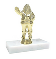 Christmas Santa Claus Gold Figure on Marble Base