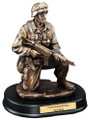 "Military Soldier Kneeling With Rifle Down Resin Sculpture 10"" Tall"