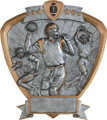 "Football Standing Shield Resin 8.5"" Tall"