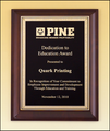 "9"" x 12"" Cherry Finish Plaque with Gold Florentine Border"