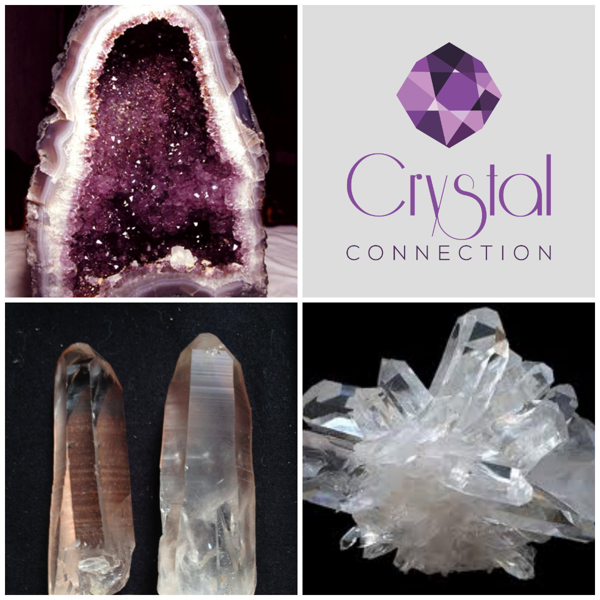 Crystal Connection, Amethyst, Lemurian, Clear Quartz Cluster