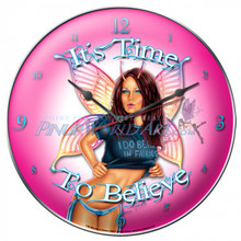 "Sexy Fairy Pinup Art ""I Do Believe in Fairies"" Clock By Nicole Brune"