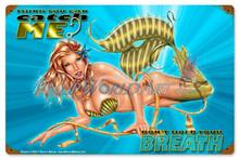 """Sexy Mermaid """"Oceana"""" Mermaid Vintage Metal Sign"""