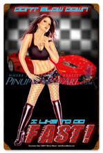 "Sexy Racecar Girl Pinup Art ""California Girl""  Vintage Metal Sign"