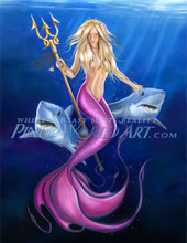 "Mermaid with Sharks Pinup Art ""Fearless""  by Nicole Brune"