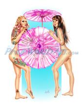 "Sexy Tattoo Nude Girls ""Parasols"" by Nicole Brune"