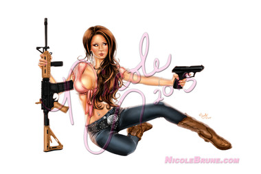"""""""Country Girls Pack"""" PinUp Art by Nicole Brune is perfect for the patriotic people in your life. Featuring Emily Addison as our gun packin country girl"""
