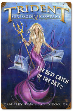"""Fearless - Trident Seafood Company (San Diego) 12x18"""" Vintage Metal Sign by Nicole Brune"""