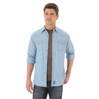 Wrangler Men's Retro Long Sleeve Shirt - Light Indigo