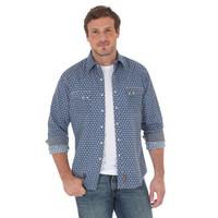 Wrangler Men's Retro Long Sleeve Shirt Navy Print