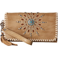 Blazin Roxx Western Womens Wallet Clutch Starburst Tan