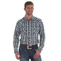 Wrangler Men's Snap Short Sleeve Shirt - Blue/Black