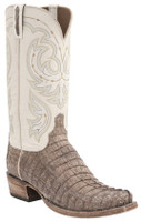 Lucchese Men's Waxy Caiman Tail Western Boots - Tan
