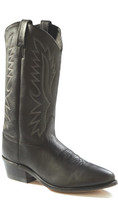 Jama Old West Men's R Toe Cowboy Boots - Black