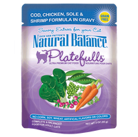 Natural Balance Platefulls Grain-Free Cod, Chicken, Sole & Shrimp Formula in Gravy Cat Food Pouches 3oz